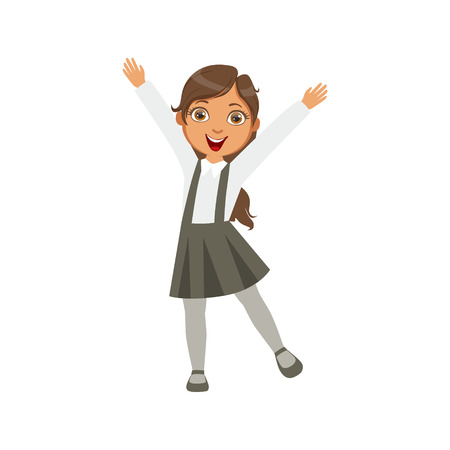 schoolkid: Girl In Black Skirt With Suspenders Happy Schoolkid In School Uniform Standing And Smiling Cartoon Character. Part Of Primary School Students In Dress Code Clothing Set Of Vector Illustrations. Illustration