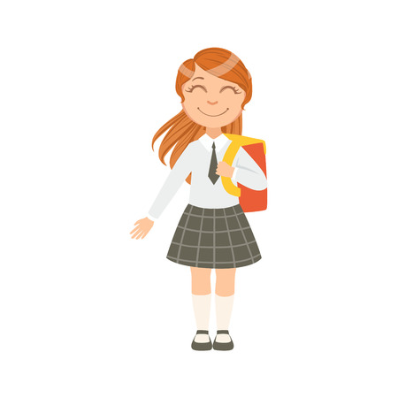 schoolkid: Girl In Black Checkered Skirt And Tie Happy Schoolkid In School Uniform Standing And Smiling Cartoon Character. Part Of Primary School Students In Dress Code Clothing Set Of Vector Illustrations.