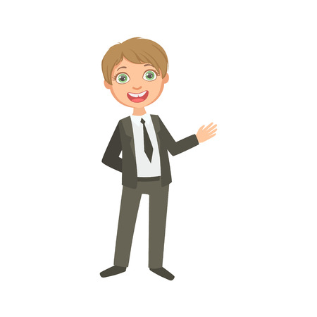 schoolkid: Boy In Classic Black Suit Happy Schoolkid In School Uniform Standing And Smiling Cartoon Character. Part Of Primary School Students In Dress Code Clothing Set Of Vector Illustrations.