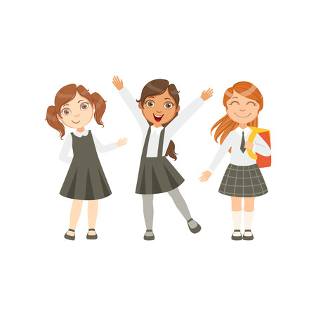 schoolkids: Girls In Black And White Outfits Happy Schoolkids In Similar Collection School Uniforms Standing And Smiling Cartoon Character. Part Of Primary School Students In Dress Code Clothing Set Of Vector Illustrations.
