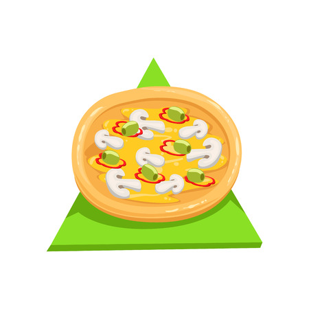 pizza base: Vegetarian Pizza,Part Of Italian Fast Food Cuisine Restaurant Takeout Delivery Service Collection Of Illustrations. Cartoon Vector Colorful Drawing On White Background.