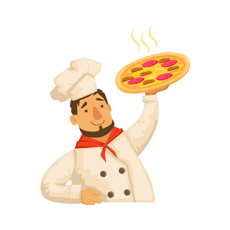 ready cooked: Chef Holding Pizza,Part Of Italian Fast Food Cuisine Restaurant Takeout Delivery Service Collection Of Illustrations. Cartoon Vector Colorful Drawing On White Background.