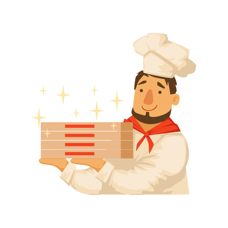 Chef Holding Pile OF Pizza Boxes,Part Of Italian Fast Food Cuisine Restaurant Takeout Delivery Service Collection Of Illustrations. Cartoon Vector Colorful Drawing On White Background.
