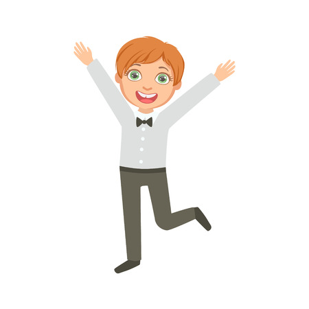 schoolkid: Boy In Black Trousers And Bow Tie Happy Schoolkid In School Uniform Standing And Smiling Cartoon Character. Part Of Primary School Students In Dress Code Clothing Set Of Vector Illustrations.