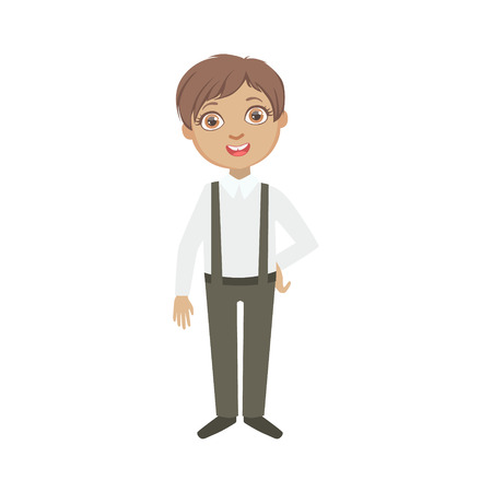 schoolkid: Boy In Black Pants With Suspenders Happy Schoolkid In School Uniform Standing And Smiling Cartoon Character. Part Of Primary School Students In Dress Code Clothing Set Of Vector Illustrations.