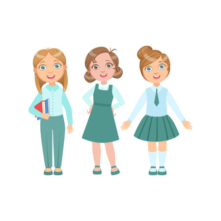 schoolkids: Girls In Blue Outfits Happy Schoolkids In Similar Collection School Uniforms Standing And Smiling Cartoon Character. Part Of Primary School Students In Dress Code Clothing Set Of Vector Illustrations.