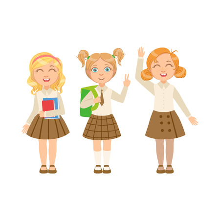 Girls In Brown Skirts Happy Schoolkids In Similar Collection School Uniforms Standing And Smiling Cartoon Character. Part Of Primary School Students In Dress Code Clothing Set Of Vector Illustrations. Illustration