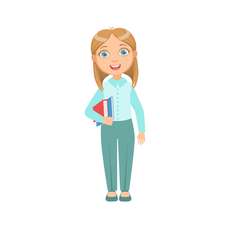 Girl In Blue Pants And Vest Happy Schoolkid In School Uniform Standing And Smiling Cartoon Character. Part Of Primary School Students In Dress Code Clothing Set Of Vector Illustrations.