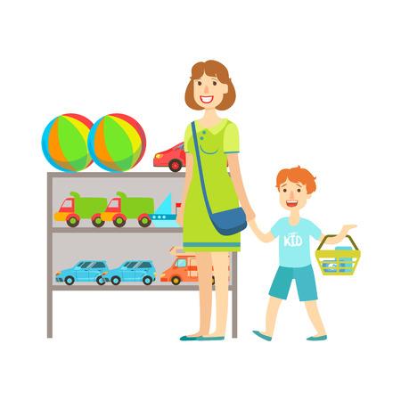 Madre y niño de compras para los juguetes, un centro comercial y los grandes almacenes Sección Ilustración. Persona coloca al lado del supermercado del escaparate con las mercancías en el estante sonriente personaje de dibujos animados.