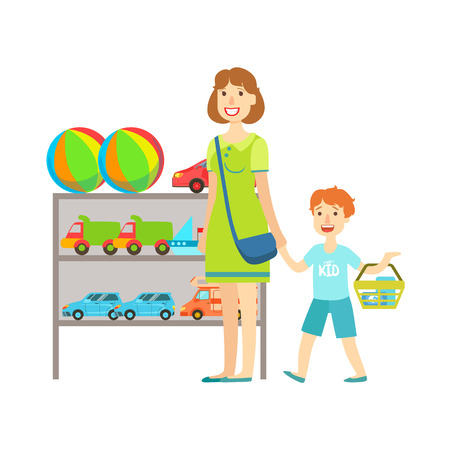 Mother And Child Shopping For Toys, Shopping Mall And Department Store Section Illustration. Person Standing Next To Supermarket Showcase With Goods On The Shelf Smiling Cartoon Character. Illustration