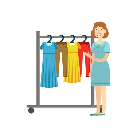Compras de la mujer para la ropa, un centro comercial y los grandes almacenes Sección Ilustración. Persona coloca al lado del supermercado del escaparate con las mercancías en el estante sonriente personaje de dibujos animados.