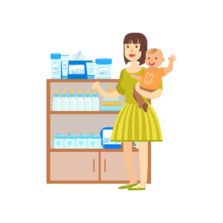 Mujer con un bebé compras para los alimentos para niños, un centro comercial y los grandes almacenes Sección Ilustración. Persona coloca al lado del supermercado del escaparate con las mercancías en el estante sonriente personaje de dibujos animados.