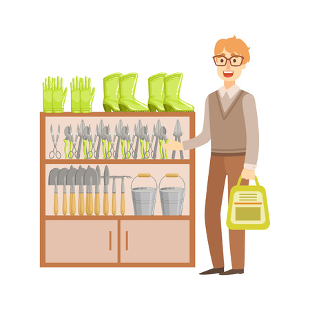 gardening  equipment: Man Shopping For Gardening Equipment, Shopping Mall And Department Store Section Illustration. Person Standing Next To Supermarket Showcase With Goods On The Shelf Smiling Cartoon Character.