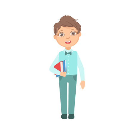 schoolkid: Boy In Blue Trousers And Vest Holding Books Happy Schoolkid In School Uniform Standing And Smiling Cartoon Character. Part Of Primary School Students In Dress Code Clothing Set Of Vector Illustrations. Illustration