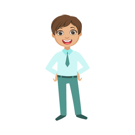 obligatory: Boy In Blue Trousers And Shirt With Tie Happy Schoolkid In School Uniform Standing And Smiling Cartoon Character. Part Of Primary School Students In Dress Code Clothing Set Of Vector Illustrations.