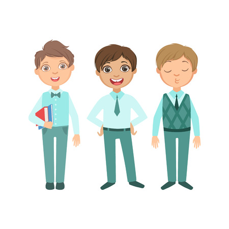 mandated: Boys In Blue Outfits Happy Schoolkids In Similar Collection School Uniforms Standing And Smiling Cartoon Character. Part Of Primary School Students In Dress Code Clothing Set Of Vector Illustrations.