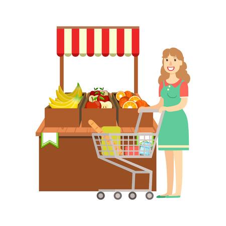 Mujer de compras de frutas, un centro comercial y los grandes almacenes Sección Ilustración. Persona coloca al lado del supermercado del escaparate con las mercancías en el estante sonriente personaje de dibujos animados.