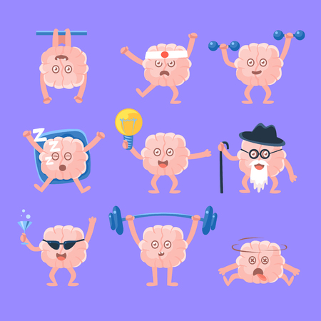 mind set: Humanized Brain Doing Different Activities Set Of Intellect Human Organ Cartoon Character Emoji. Human Mind And People Lifestyle Collection Of Emoticon Illustrations Showing Intellectual Brainpower. Illustration