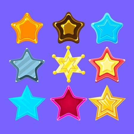 stardom: Five-Point Colorful Cartoon Star Collection For Flash Video Game Rewards , Bonuses And Stickers. Bright Color Glossy Pentagram Shapes Isolated Vector Icons.