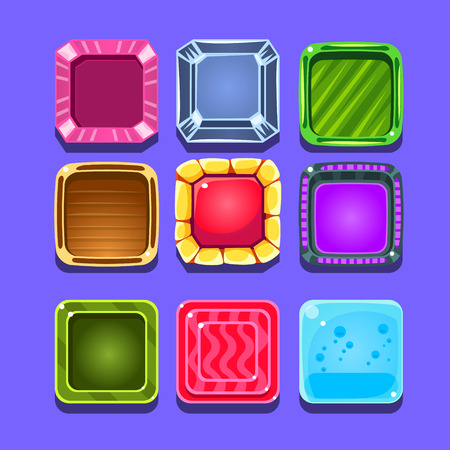 crush: Colorful Gems Flash Game Element Templates Design Set With Colorful Square Candy For Three In The Row Type Of Video Game. Glossy Bright Color Details For Gaming Constructor Purposes Vector Collection OF Icons. Illustration