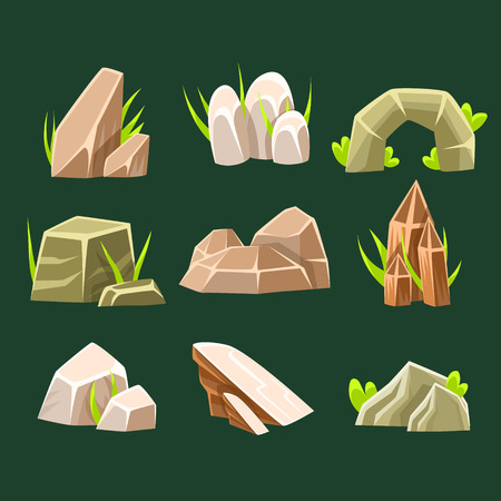 Natural Brow Rocks Of Different Shape Collection Of Landscape Design Elements For Flash Game. Landscaping Set Of Stones And Crystals For Nature Outdoors Constructor Vector Cartoon Items.