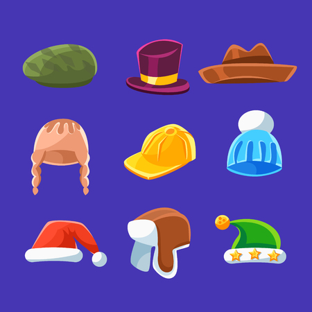 newsboy cap: Different Types Of Hats And Caps, Warm And Classy For Kids And Adults Set Of Cartoon Colorful Vector Clothing Items. Winter And Autumn Male Headpieces In Childish Bright Colors Collection Of Illustrations. Illustration