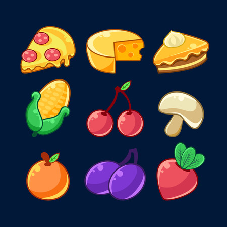 prune: Food Items Outlined Childish Stickers Set For Flash Game Design Including Fruits , Berries And Pizza. Eatable Isolated Elements Of Farming Game Of Children Cartoon Vector Illustration.