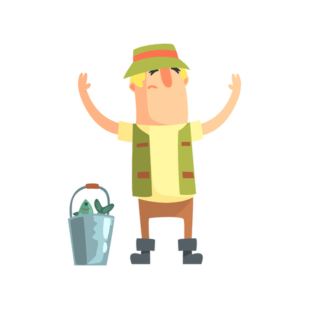 Amateur Fisherman In Khaki Clothes Bragging About The Size Of The Fish He Caught Cartoon Vector Character And His Hobby Illustration. Man On His Leisure Outdoors Fishing Trip Wearing Typical Outfit Vector Funny Drawing.