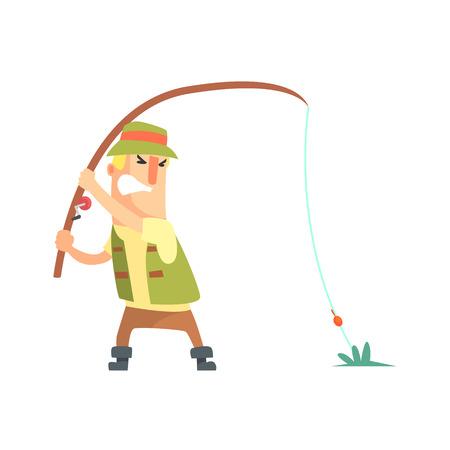 Amateur Fisherman Dans Kaki Vêtements Fighting Pour sortir un personnage poisson Cartoon Vector Et Son Illustration Hobby. Man On His Loisirs Plein air Voyage de pêche Le port de la tenue typique Vecteur drôle de dessin.