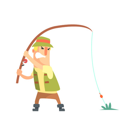 Amateur Fisherman In Khaki Clothes Fighting To Pull Out A Fish Cartoon Vector Character And His Hobby Illustration. Man On His Leisure Outdoors Fishing Trip Wearing Typical Outfit Vector Funny Drawing.