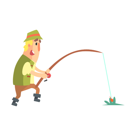 hooking: Amateur Fisherman In Khaki Clothes Seeing The Fish To Take The Bait Cartoon Vector Character And His Hobby Illustration. Man On His Leisure Outdoors Fishing Trip Wearing Typical Outfit Vector Funny Drawing.
