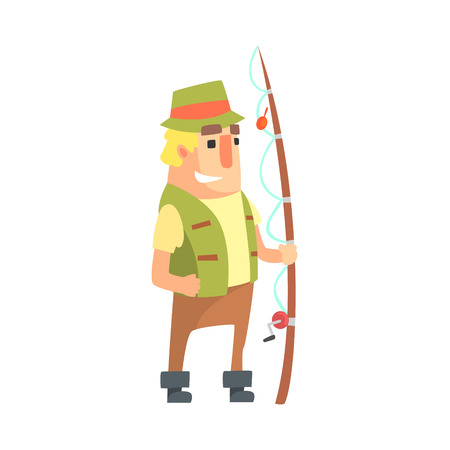 khaki: Happy Amateur Fisherman In Khaki Clothes Standing With Fishing Rod Cartoon Vector Character And His Hobby Illustration. Man On His Leisure Outdoors Fishing Trip Wearing Typical Outfit Vector Funny Drawing.