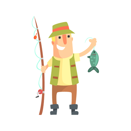 Sorridente Amateur pescatore in Khaki vestiti in possesso di un pesce che ha catturato Vector Cartoon carattere e la sua illustrazione hobby. Man On il suo tempo libero esterna Fishing Trip Indossare tipica Outfit Vector l'illustrazione divertente. Archivio Fotografico - 67200928