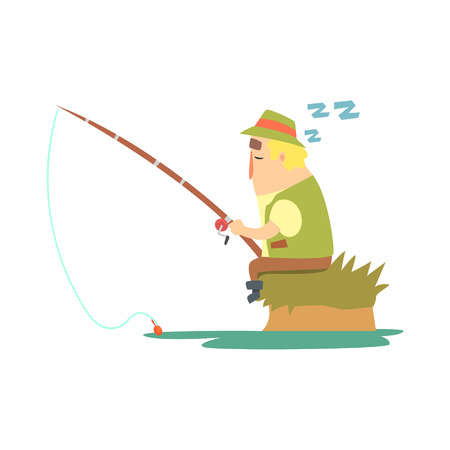 taking nap: Amateur Fisherman In Khaki Clothes Sleeping On River Bank With Fishing Rod Cartoon Vector Character And His Hobby Illustration. Man On His Leisure Outdoors Fishing Trip Wearing Typical Outfit Vector Funny Drawing. Illustration