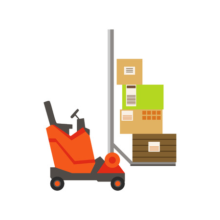 depot: Orange Forklift Warehouse Car Lifting The Paper Box Packages, Storeroom Machinery Without Driver. Part Of Storehouse And Logistic Service Depository Collection Of Vector Illustrations.