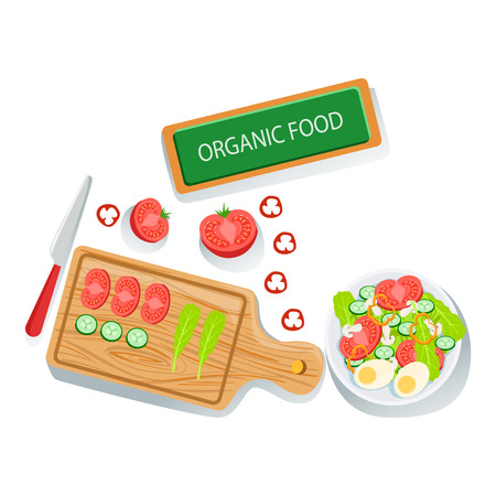 boiled: Prepared Ingredients And Bowl With Ready Salad Of Fresh Organic Vegetables Illustration With Farm Grown Eco Products. Vegetarian Bio Food And Healthy Diet Element Cartoon Vector Drawing. Illustration