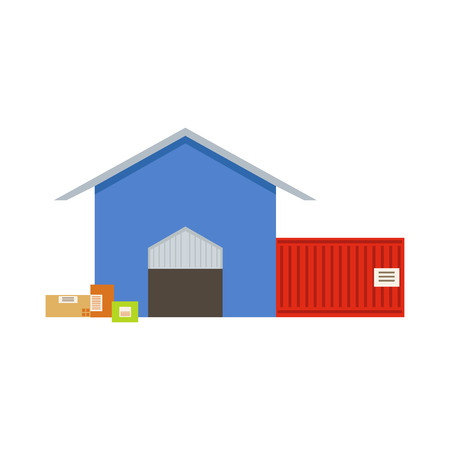 depot: Warehouse Building Exterior View With Two Depot Rooms In Blue Store And Red Shipping Container. Part Of Storehouse And Logistic Service Depository Collection Of Vector Illustrations.