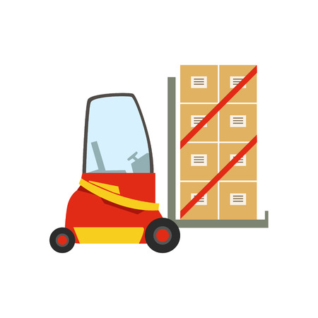 Red Forklift Warehouse Car Lifting The Paper Box Packages, Storeroom Machinery Without Driver. Part Of Storehouse And Logistic Service Depository Collection Of Vector Illustrations.