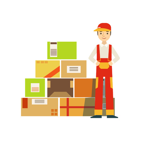 dungarees: Paper Box Packages Piled Up In Warehouse With A Delivery Company Worker Standing Next In Red Dungarees Uniform. Part Of Storehouse And Logistic Service Depository Collection Of Vector Illustrations. Illustration