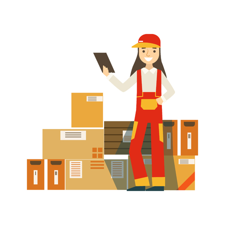 Paper Box Packages Piled Up In Warehouse With A Delivery Company Worker Standing Next Checking It With Check List. Part Of Storehouse And Logistic Service Depository Collection Of Vector Illustrations.