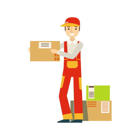 Paper Box Packages Piled Up In Warehouse With A Delivery Company Worker Shipping The Orders. Part Of Storehouse And Logistic Service Depository Collection Of Vector Illustrations.