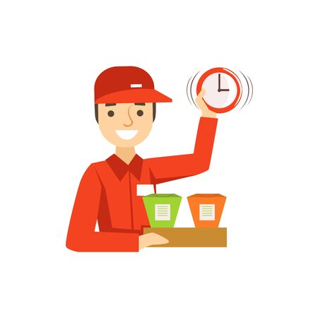 Delivery Service Worker In Red Uniform Holding Packed Wok Noodles And Clock Ready To Ship The Order. Cartoon Vector Illustration From The Collection Of Asian Food Takeout Company Process Of Office And Home Food Delivery. Illustration