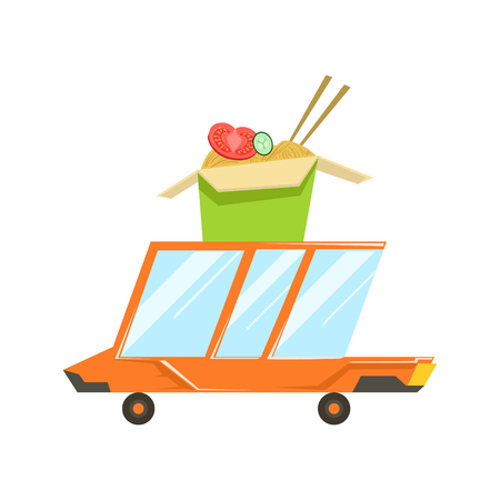 Fast Delivery Service Orange Car With Wok Fried Noodles On The Roof Going To Deliver Food. Cartoon Vector Illustration From The Collection Of Asian Food Takeout Company Process Of Office And Home Food Delivery.
