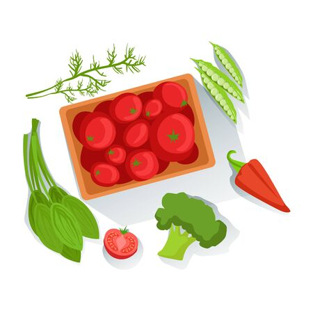 Tomatos,Broccoli, Spinach Fresh Organic Vegetables Illustration With Farm Grown Eco Products. Vegetarian Bio Food And Healthy Diet Element Cartoon Vector Drawing.