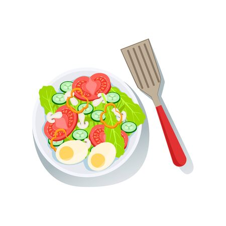 boiled: Salad With Eggs And Fresh Organic Vegetables Illustration With Farm Grown Eco Products. Vegetarian Bio Food And Healthy Diet Element Cartoon Vector Drawing.