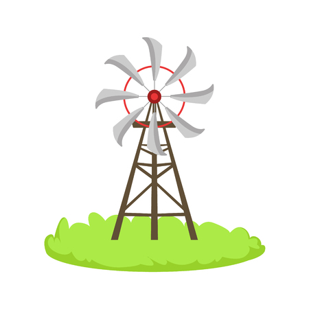 associated: Energy Windmill Structure Cartoon Farm Related Element On Patch Of Green Grass. Colorful Vector Illustration With Farming And Rancho Associated Isolated Object.