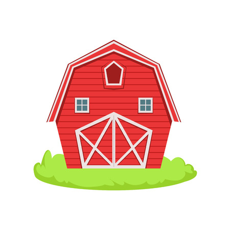 associated: Red Wooden Barn Cartoon Farm Related Element On Patch Of Green Grass. Colorful Vector Illustration With Farming And Rancho Associated Isolated Object.