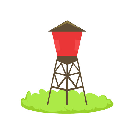 Red Water Barrel Cartoon Farm Related Element On Patch Of Green Grass. Colorful Vector Illustration With Farming And Rancho Associated Isolated Object. Illustration