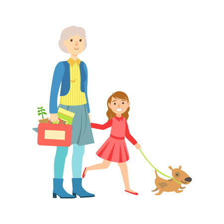 grandparent: Grandfather And Granddaughter Walking The Dog, Part Of Grandparent And Grandchild Passing Time Together Set Of Illustrations. Good Relationship Between Generations Of Family Cartoon Vector Drawing.
