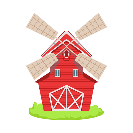 associated: Red Wooden Windmill Cartoon Farm Related Element On Patch Of Green Grass. Colorful Vector Illustration With Farming And Rancho Associated Isolated Object.
